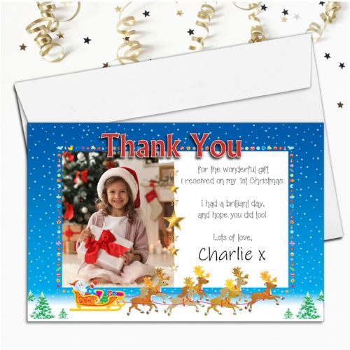 10 Personalised Christmas Thank you PHOTO Cards N13